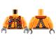 Part No: 973pb2856c01  Name: Torso Coast Guard, Jacket with Harness, Belt, Carabiner and Coast Guard Logo Badge Pattern / Orange Arms / Dark Bluish Gray Hands