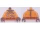 Part No: 973pb2911c01  Name: Torso Female Astronaut Spacesuit Pattern (Mae Jemison) / Orange Arms / Reddish Brown Hands