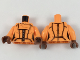 Part No: 973pb3086c01  Name: Torso Female with Black Panel Lines and White Zipper Pattern / Orange Arms / Reddish Brown Hands