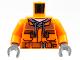Part No: 973pb3379c01  Name: Torso Construction Jacket over Dark Gray Hooded Sweatshirt, Zipper Pockets, Brown Belt without Back Print Pattern / Orange Arms / Dark Bluish Gray Hands