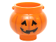 Part No: 98374pb02  Name: Minifigure, Utensil Pot Small with Handle Holders and Pumpkin Jack O' Lantern with Angular Eyes Pattern