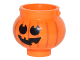 Part No: 98374pb03  Name: Minifigure, Utensil Pot Small with Handle Holders and Pumpkin Jack O' Lantern with Round Eyes Pattern