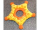 Part No: pri052  Name: Primo Cloth Star with Yellow Lining and Orange Tips, Orange Center and Orange Rings Pattern