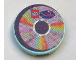 Part No: 4150pb060  Name: Tile, Round 2 x 2 with CD Pastel Sectors and LEGO Scala Logo Pattern (Sticker) - Sets 3142 / 3159