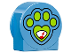 Part No: 14222pb008  Name: Duplo, Brick 1 x 3 x 2 Round Top, Cut Away Sides with Paw Print Pattern