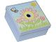 Part No: 33031pb04  Name: Container, Box 3.5 x 3.5 x 1.3 with Hinged Lid with Flowers, Sun and Bee Pattern (Sticker)