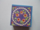 Part No: 33031pb14  Name: Container, Box 3.5 x 3.5 x 1.3 with Hinged Lid with Necklace and Roses on Blue Background Pattern (Sticker) - Set 3114
