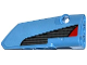 Part No: 64391pb016  Name: Technic, Panel Fairing # 4 Small Smooth Long, Side B with Red Triangle and Carbon Fiber Pattern (Sticker) - Set 42036