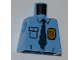 Part No: 973pb1008  Name: Torso Police Shirt with Gold Badge, Dark Blue Tie and Wrinkles Pattern
