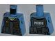 Part No: 973pb1350  Name: Torso Police Shirt with Dark Bluish Gray Vest, Gold Badge, Radio, White Undershirt and White 'POLICE' Pattern on Back