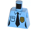 Part No: 973pb1617  Name: Torso Police Female Shirt with Gold Badge, Pocket and Black Tie Pattern