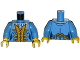 Part No: 973pb1931c01  Name: Torso Pirate Governor's Daughter Pattern / Medium Blue Arms / Yellow Hands