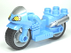 Part No: dupmc3pb02  Name: Duplo Motorcycle with Rubber Wheels, Windscreen and Headlights Pattern