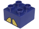 Part No: 3437pb011  Name: Duplo, Brick 2 x 2 with 2 Yellow Angled Half Ellipses Pattern