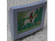 Part No: 6962pb02  Name: Scala Television / Computer Monitor with Girl on Horse and Dog Pattern (Sticker) - Set 3290