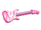 Part No: 11640pb05  Name: Minifigure, Utensil Guitar Electric with Bright Pink Diagonal Stripes and Metallic Light Blue Strings, Bridge and Output Jack Pattern