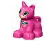 Part No: 17865pb03  Name: Duplo Cat Kitten Sitting with Lime Eyes and White Whiskers and Paw Print Collar Pattern