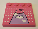 Part No: 6179pb135  Name: Tile, Modified 4 x 4 with Studs on Edge with White Dots and Medium Lavender Cat Pattern (Sticker) - Set 41342