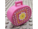 Part No: 6203pb11  Name: Scala Utensil Oval Case with Yellow Flower and White Dots on Dark Pink Background Pattern (Sticker) - Set 3118