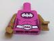Part No: 973pb2570c01  Name: Torso Batman Female Logo on Magenta Oval and Silver Belt with Bat Buckle Pattern / Medium Dark Flesh Arms with Cuffs Pattern / Medium Dark Flesh Hands