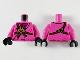Part No: 973pb3763c01  Name: Torso Ninjago Brown Rope, Gold Medallion and Magenta Undershirt Pattern / Dark Pink Arms / Black Hands