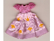 Part No: belvdress01  Name: Belville, Clothes Dress (Child) Long, Short Net Sleeves, Pink Skirt with Crown and Swirls Pattern #7578