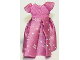 Part No: belvdress02  Name: Belville, Clothes Dress (Child) Long, Short Net Sleeves, Pink Skirt with White Snowflake Pattern #7577