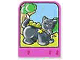 Part No: dupstr42  Name: Storybuilder Pink Palace Card with Cat Pattern