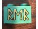 Part No: 3004pb191  Name: Brick 1 x 2 with Gold Runes 'RMR' Pattern (Sticker) - Set 79018