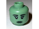 Part No: 3626bpb0675  Name: Minifigure, Head Female with Black Eyebrows, Eyelashes, White Pupils, Dark Green Lips Pattern - Blocked Open Stud