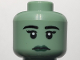 Part No: 3626cpb0675  Name: Minifigure, Head Female with Black Eyebrows, Eyelashes, White Pupils, Dark Green Lips Pattern - Hollow Stud