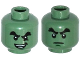 Part No: 3626cpb1550  Name: Minifigure, Head Dual Sided Black Bushy Eyebrows, Chin Dimple, Evil Smile, Crease under Eye / Determined Pattern - Hollow Stud