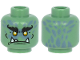 Part No: 3626cpb2626  Name: Minifigure, Head Black Bushy Eyebrows, Yellow Eyes, 3 White Pointed Teeth, and Sand Blue Spots in Back Pattern - Hollow Stud