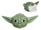 Part No: 64804pb02  Name: Minifigure, Head Modified SW Yoda Straight Ears with Large Eyes and White Hair Pattern