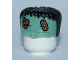 Part No: 93556pb01  Name: Minifigure, Headgear Head Top, Frankenstein Monster with Black Hair and Bandages Pattern