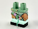 Part No: 970d45pb01  Name: Minifigure, Legs with Hips - 1 Nougat Left Leg, 1 Sand Green Right Leg with Light Aqua Boots, Multicolor Ragdoll Patchwork, Black Toes Pattern