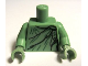 Part No: 973pb1063c01  Name: Torso Female Black and Dark Green Robe Pattern (Lady Liberty) / Sand Green Arms / Sand Green Hands