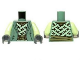 Part No: 973pb1447c01  Name: Torso LotR Robe with Light Green Straps and Gold Belt Pattern / Yellowish Green Arms / Dark Bluish Gray Hands