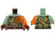 Part No: 973pb2136c01  Name: Torso Olive Green and Orange Body Armor with Dark Red Straps and Belt Pattern / Orange Arm Left / Sand Green Arm Right / Reddish Brown Hands
