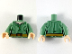Part No: 973pb3629c01  Name: Torso Female Shirt, Green Pinstripes, Dark Tan Belt with Medium Nougat Buckle and Stitching Pattern / Sand Green Arms / Light Nougat Hands