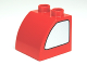 Part No: 11170pb01  Name: Duplo, Brick 2 x 2 x 1 1/2 with Curved Top and Metallic Silver Window Pattern on Both Sides