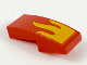 Part No: 11477pb069  Name: Slope, Curved 2 x 1 No Studs with Bright Light Orange Flame Pattern