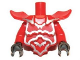 Part No: 11692pb01c01  Name: Torso, Modified Short with Armor Breastplate with Shoulder Ridges and Silver Edges Pattern / Red Arms / Black Hands