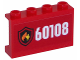 Part No: 14718pb005  Name: Panel 1 x 4 x 2 with Side Supports - Hollow Studs with Fire Logo and White '60108' on Red Background Pattern (Sticker) - Set 60108