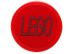 Part No: 14769pb059  Name: Tile, Round 2 x 2 with Bottom Stud Holder with Black Lego Logo Outline on Red Background Pattern (Sticker) - Set 76039