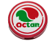 Part No: 14769pb272  Name: Tile, Round 2 x 2 with Bottom Stud Holder with Octan Logo Pattern (Sticker) - Set 70823