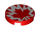 Part No: 14769pb275  Name: Tile, Round 2 x 2 with Bottom Stud Holder with Red and White Maple Leaf Pattern