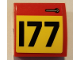 Part No: 15068pb247L  Name: Slope, Curved 2 x 2 with Door Handle and Black Number 177 on Yellow Background Pattern Model Left Side (Sticker) - Set 75894