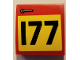 Part No: 15068pb247R  Name: Slope, Curved 2 x 2 with Door Handle and Black Number 177 on Yellow Background Pattern Model Right Side (Sticker) - Set 75894