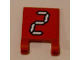 Part No: 2335pb103  Name: Flag 2 x 2 Square with White Number 2 with Black Outline on Red Background Pattern (Sticker) - Set 3569